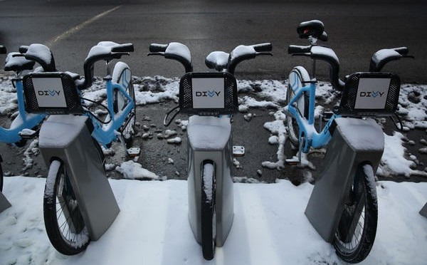 Chicago bike share station: rain, sleet, or snow...